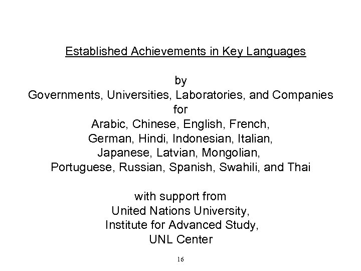 Established Achievements in Key Languages by Governments, Universities, Laboratories, and Companies for Arabic, Chinese,