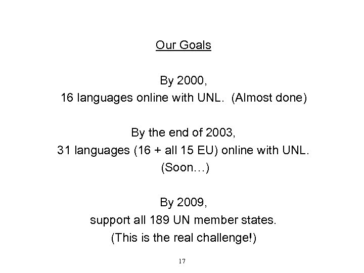 Our Goals By 2000, 16 languages online with UNL. (Almost done) By the end