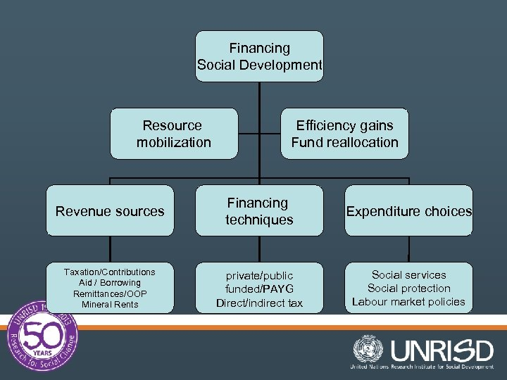 Financing Social Development Resource mobilization Efficiency gains Fund reallocation Revenue sources Financing techniques Expenditure