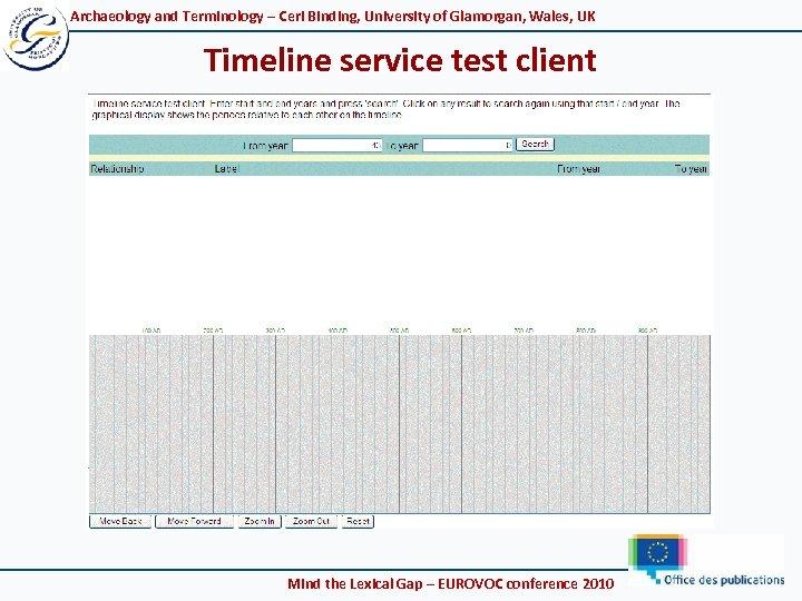 Archaeology and Terminology – Ceri Binding, University of Glamorgan, Wales, UK Timeline service test