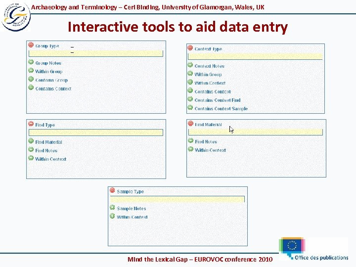 Archaeology and Terminology – Ceri Binding, University of Glamorgan, Wales, UK Interactive tools to
