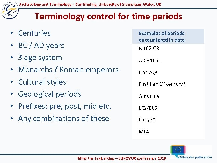Archaeology and Terminology – Ceri Binding, University of Glamorgan, Wales, UK Terminology control for
