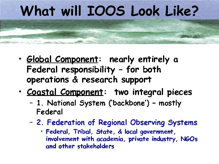 What will IOOS Look Like? • Global Component: nearly entirely a Federal responsibility –