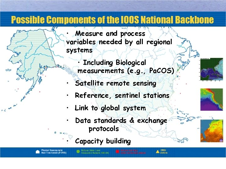 The National Backbone • Measure and process variables needed by all regional systems •