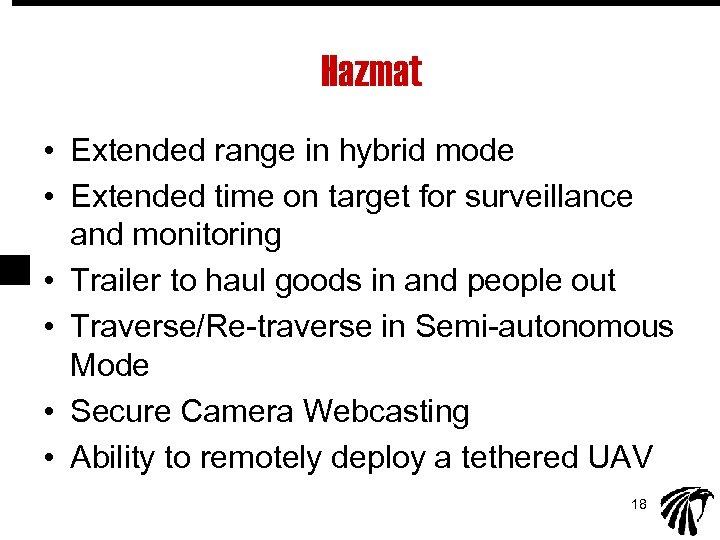 Hazmat • Extended range in hybrid mode • Extended time on target for surveillance