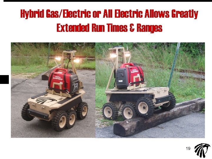 Hybrid Gas/Electric or All Electric Allows Greatly Extended Run Times & Ranges 19