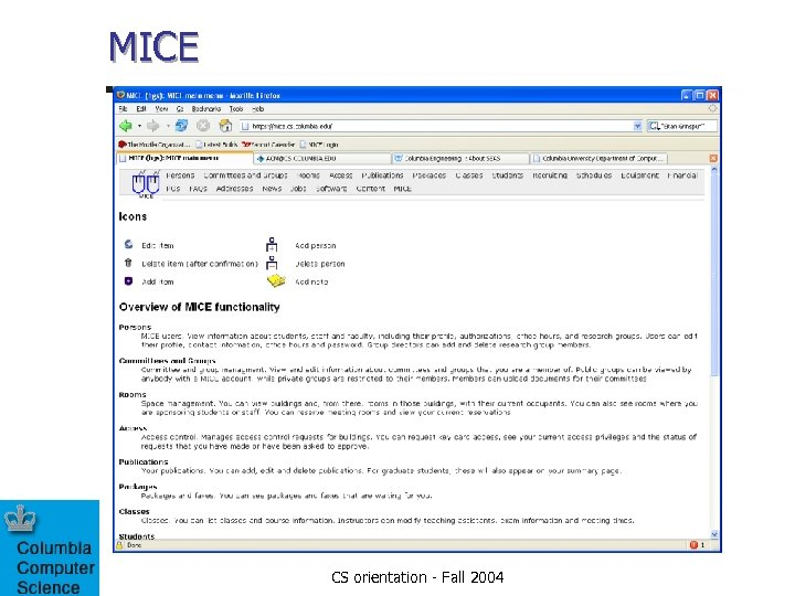 MICE CS orientation - Fall 2004