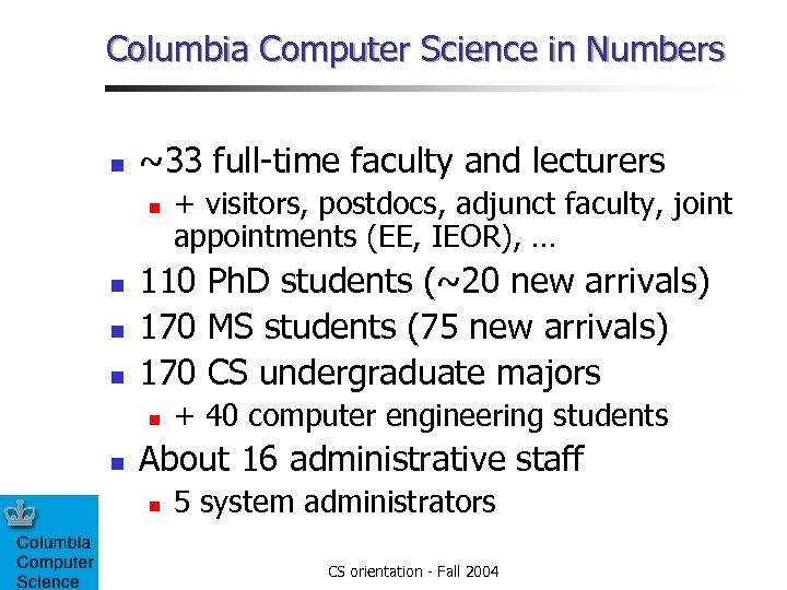 Columbia Computer Science in Numbers n ~33 full-time faculty and lecturers n n 110