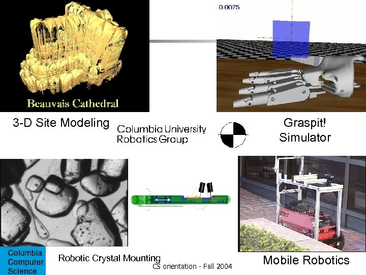 3 -D Site Modeling Computer Aided Robotic Crystal Mounting Surgery CS orientation - Fall