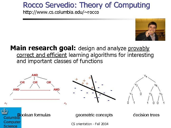 Rocco Servedio: Theory of Computing http: //www. cs. columbia. edu/~rocco Main research goal: design