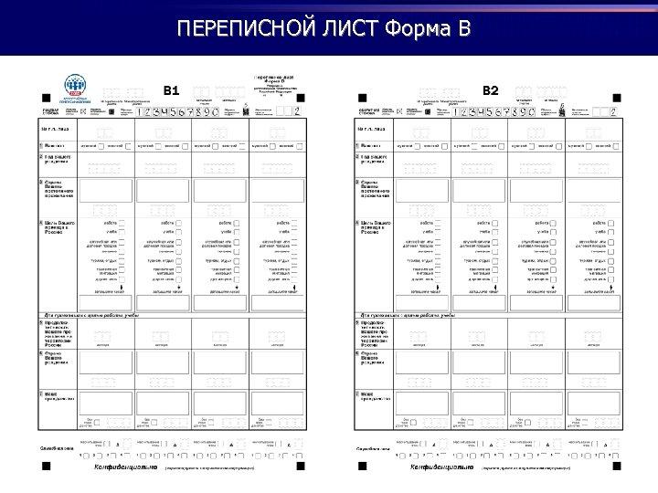 ПЕРЕПИСНОЙ ЛИСТ Форма В
