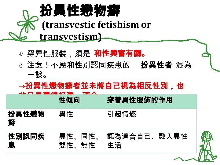 扮異性戀物癖 (transvestic fetishism or transvestism) 穿異性服裝,須是 和性興奮有關。 注意!不應和性別認同疾患的 扮異性者 混為 一談。 →扮異性戀物癖者並未將自己視為相反性別,也 非只是覺得好看、適合。 性傾向