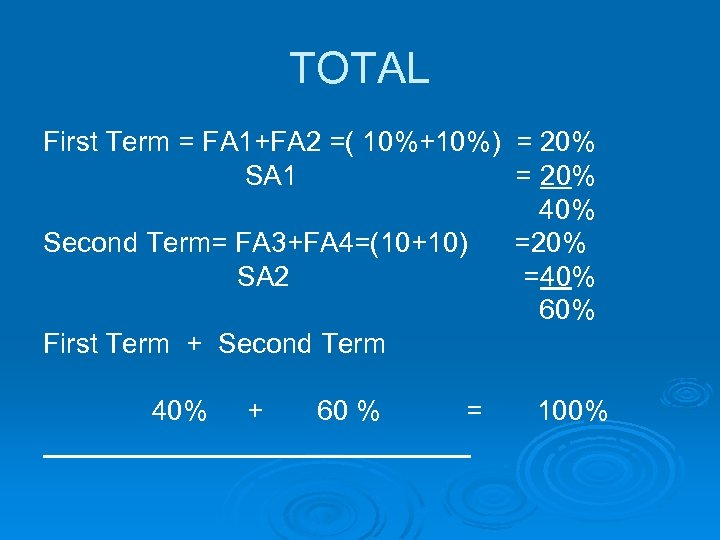 TOTAL First Term = FA 1+FA 2 =( 10%+10%) = 20% SA 1 =