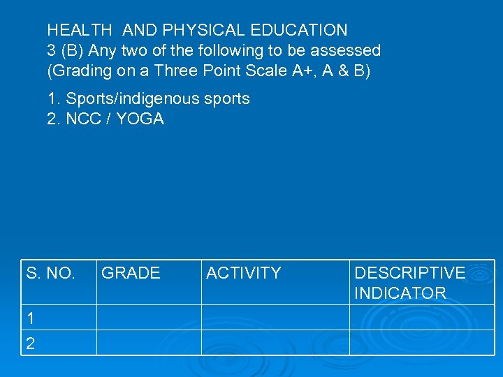 HEALTH AND PHYSICAL EDUCATION 3 (B) Any two of the following to be assessed