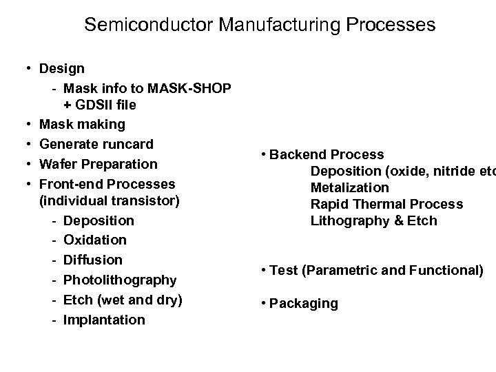 LECTURE 3 Introduction To Microelectronics Fabrication Processes