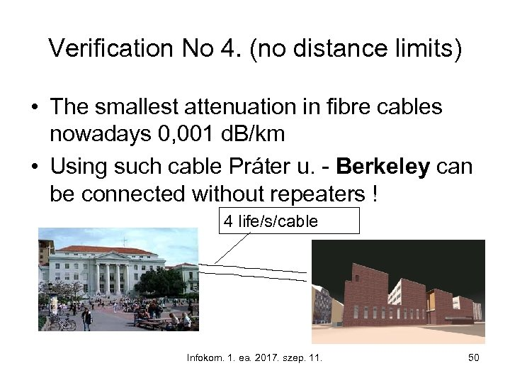 Verification No 4. (no distance limits) • The smallest attenuation in fibre cables nowadays