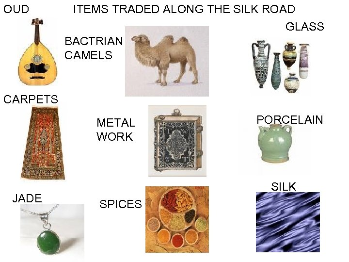OUD ITEMS TRADED ALONG THE SILK ROAD GLASS BACTRIAN CAMELS CARPETS METAL WORK JADE