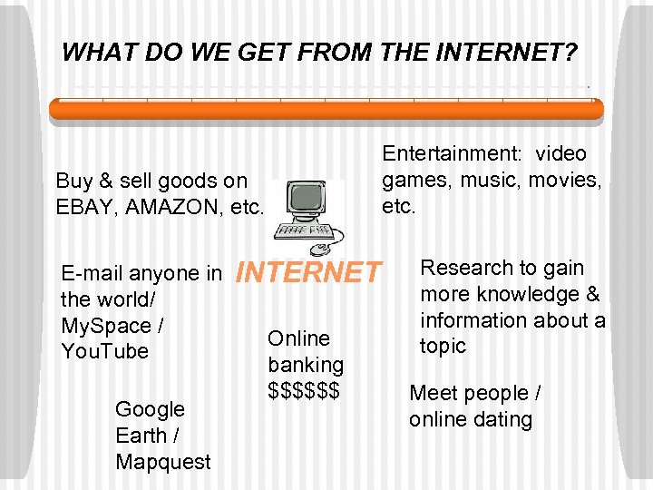 WHAT DO WE GET FROM THE INTERNET? Entertainment: video games, music, movies, etc. Buy