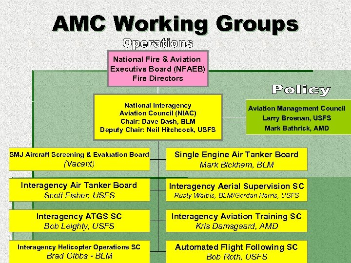 AMC Working Groups National Fire & Aviation Executive Board (NFAEB) Fire Directors National Interagency