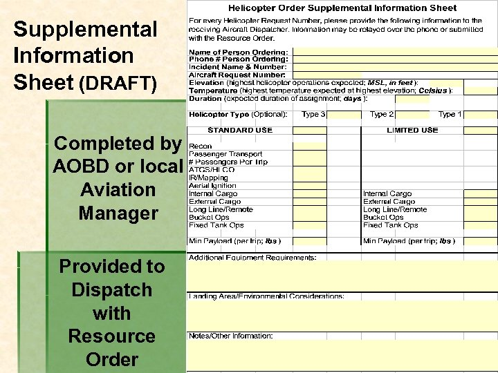 Supplemental Information Sheet (DRAFT) Completed by AOBD or local Aviation Manager Provided to Dispatch