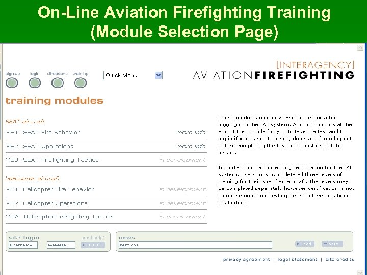 On-Line Aviation Firefighting Training (Module Selection Page)