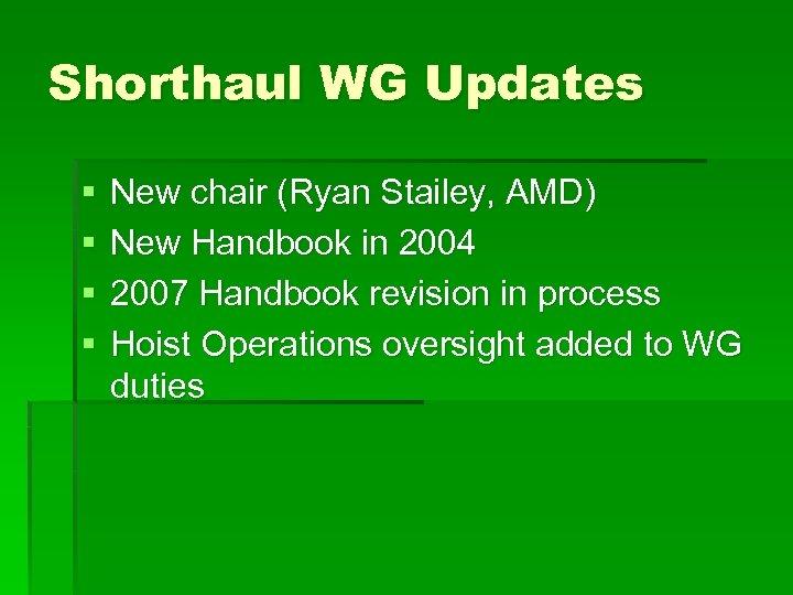 Shorthaul WG Updates § § New chair (Ryan Stailey, AMD) New Handbook in 2004