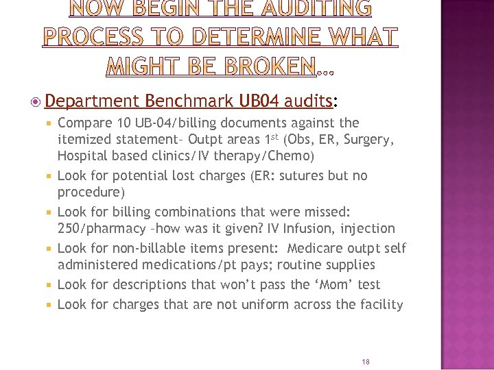 Department Benchmark UB 04 audits: Compare 10 UB-04/billing documents against the itemized statement–