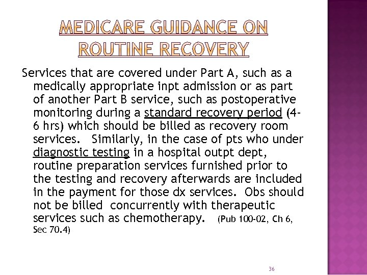 Services that are covered under Part A, such as a medically appropriate inpt admission