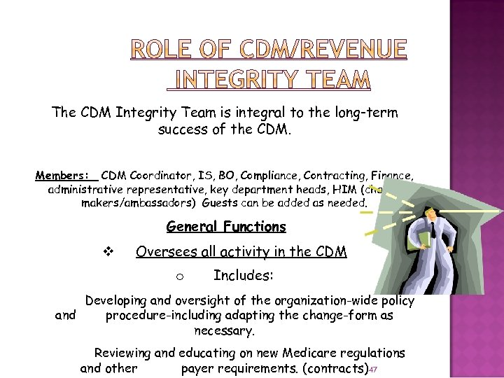 The CDM Integrity Team is integral to the long-term success of the CDM. Members: