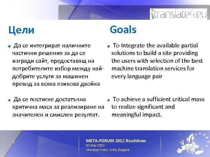 Goals Цели Да се интегрират нaличните частични решения за да се изгради сайт, предоставящ