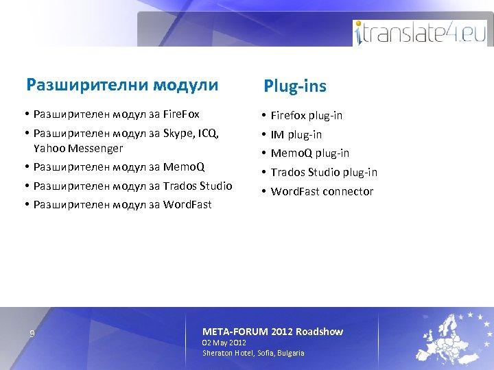 Разширителни модули Plug-ins • Разширителен модул за Fire. Fox • Разширителен модул за Skype,