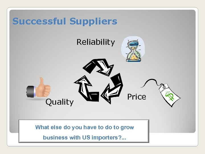 Successful Suppliers Reliability Quality Price What else do you have to do to grow