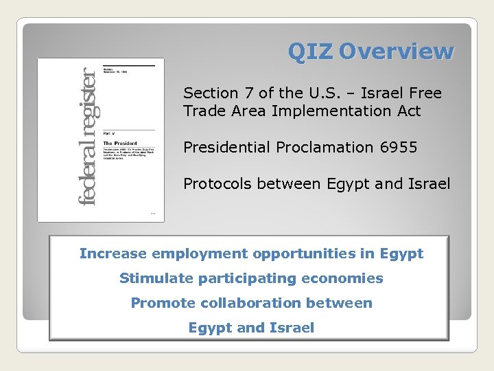 QIZ Overview Section 7 of the U. S. – Israel Free Trade Area Implementation