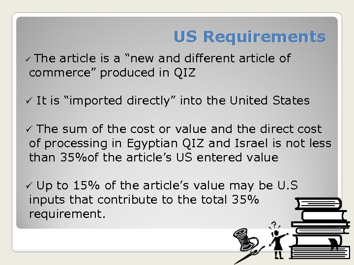 """US Requirements The article is a """"new and different article of commerce"""" produced in"""