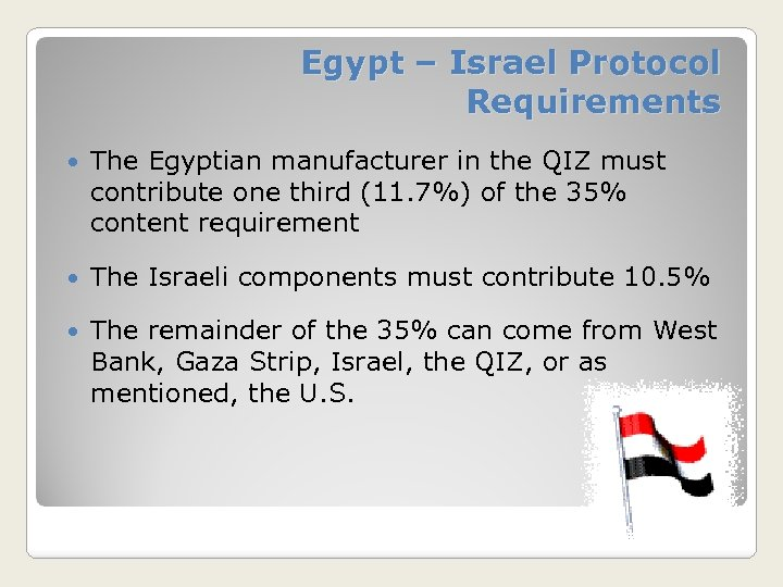 Egypt – Israel Protocol Requirements The Egyptian manufacturer in the QIZ must contribute one