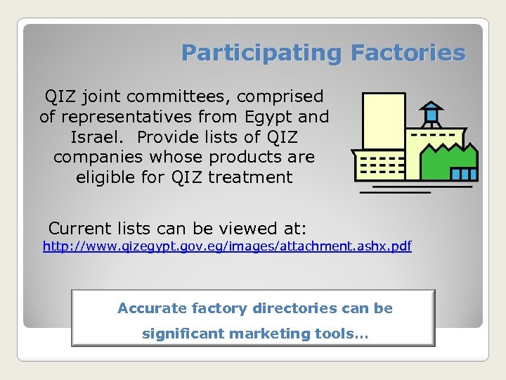 Participating Factories QIZ joint committees, comprised of representatives from Egypt and Israel. Provide lists