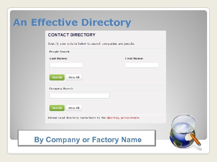 An Effective Directory By Company or Factory Name