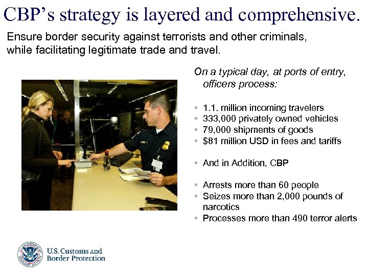 CBP's strategy is layered and comprehensive. Ensure border security against terrorists and other criminals,