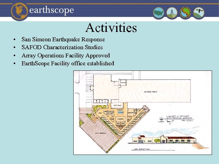 Activities • • San Simeon Earthquake Response SAFOD Characterization Studies Array Operations Facility Approved