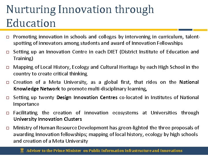 Nurturing Innovation through Education Promoting innovation in schools and colleges by intervening in curriculum,
