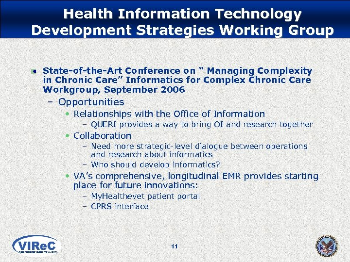 """Health Information Technology Development Strategies Working Group State-of-the-Art Conference on """" Managing Complexity in"""