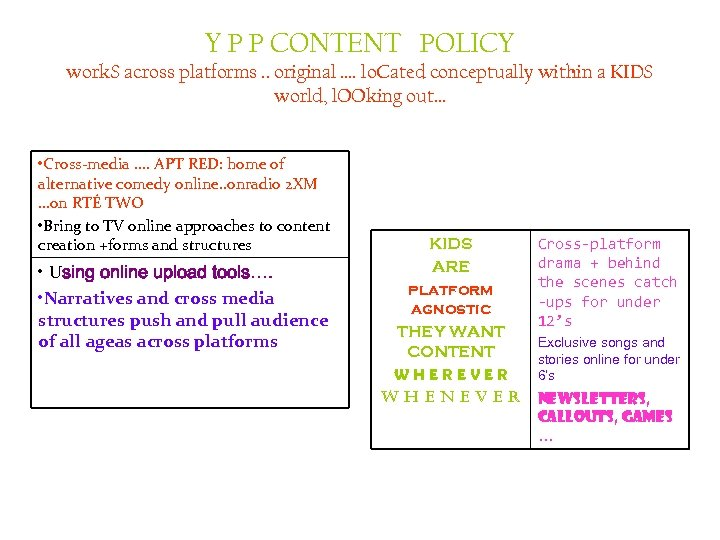 Y P P CONTENT POLICY work. S across platforms. . original …. lo. Cated