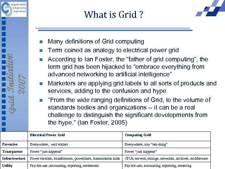 What is Grid ? n n n Many definitions of Grid computing Term coined