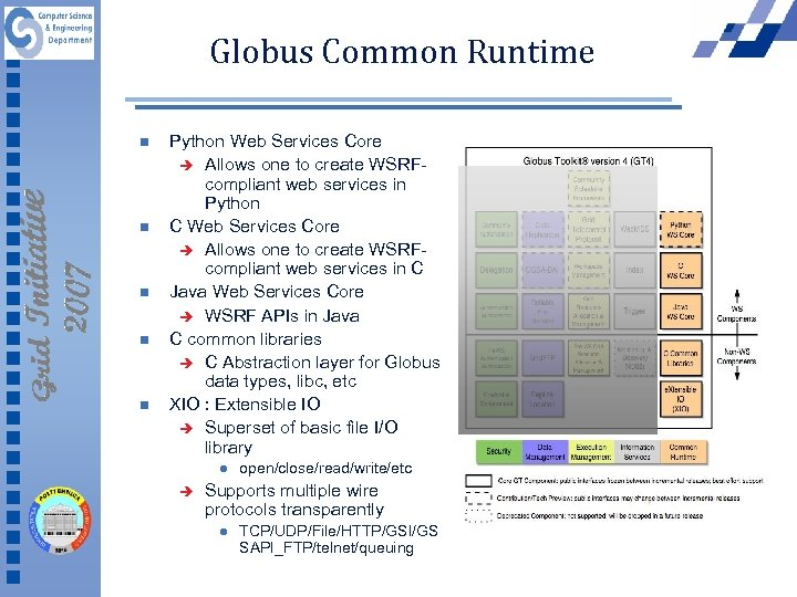 Globus Common Runtime n n n Python Web Services Core è Allows one to