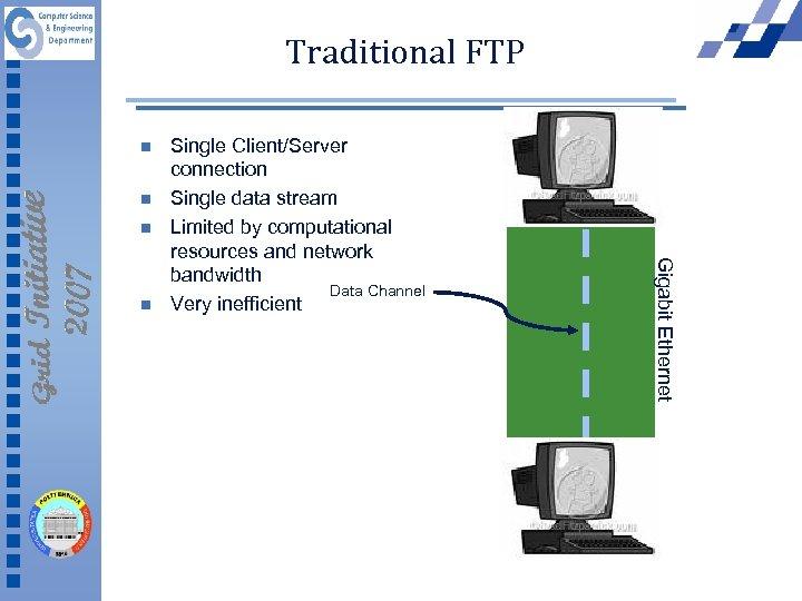 Traditional FTP n n n Gigabit Ethernet n Single Client/Server connection Single data stream