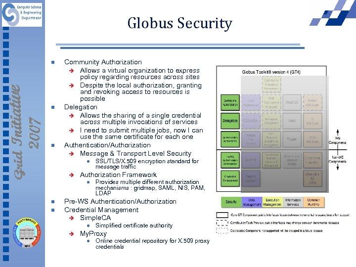 Globus Security n n n Community Authorization è Allows a virtual organization to express