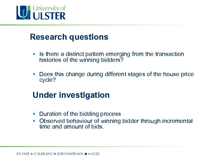 Research questions § Is there a distinct pattern emerging from the transaction histories of
