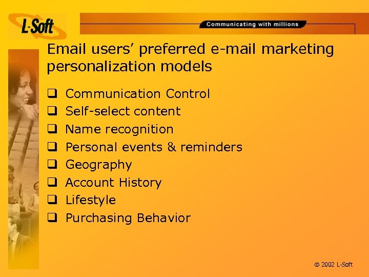 Email users' preferred e-mail marketing personalization models q q q q Communication Control Self-select