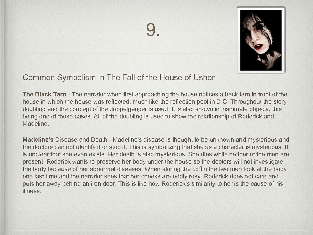 analytical essay on the fall of the house of usher The fall of the house of usher is a short story written by edger allan poe in 1839 almost everything about the story is very gloomy, dark and depressing.