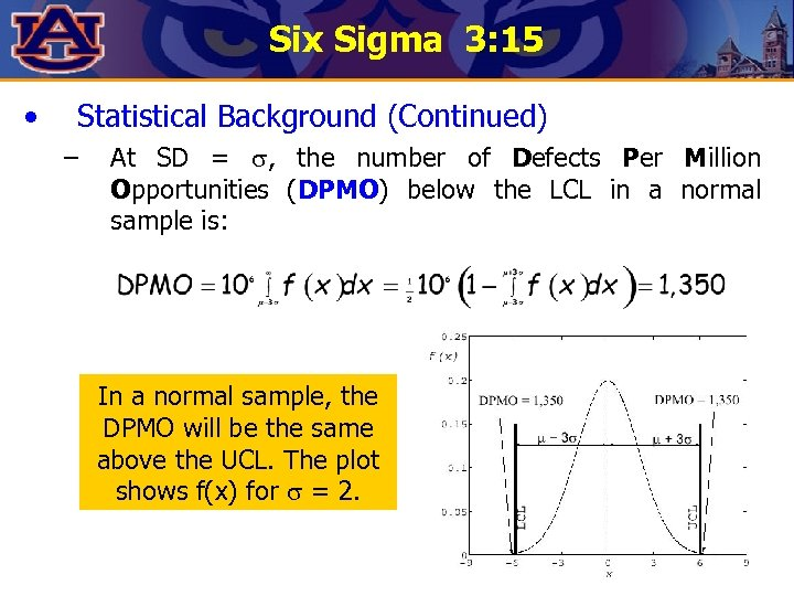 Six Sigma 3: 15 • Statistical Background (Continued) – At SD = , the